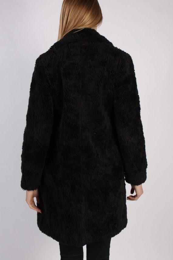 Vintage Y.O.U. Faux Fur Womens Coat Jacket Bust:36 Black -C940-70040
