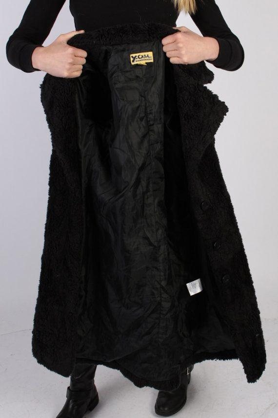 Vintage Y.O.U. Faux Fur Womens Coat Jacket Bust:36 Black -C940-70041