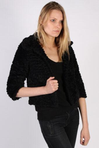 Vintage Yumi Fun Fur Ladies Coat Jacket  Bust:34 Black