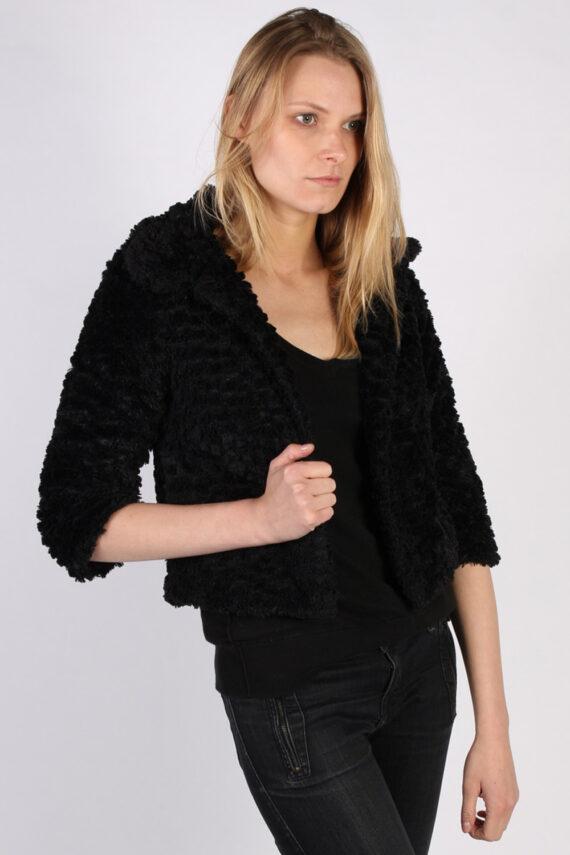 Vintage Yumi Fun Fur Ladies Coat Jacket Bust:34 Black -C949-0