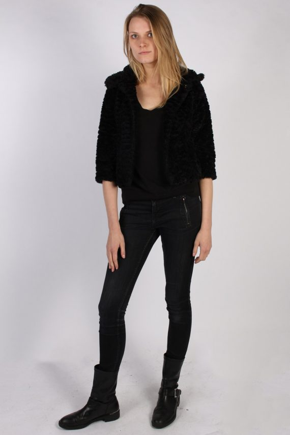 Vintage Yumi Fun Fur Ladies Coat Jacket Bust:34 Black -C949-70083