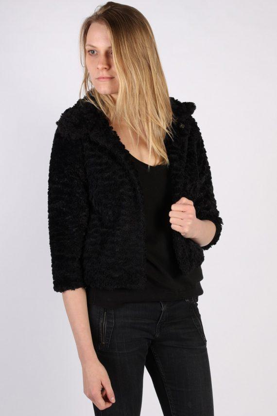 Vintage Yumi Fun Fur Ladies Coat Jacket Bust:34 Black -C949-70084