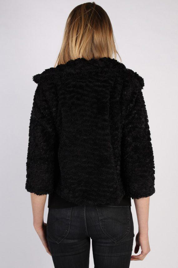 Vintage Yumi Fun Fur Ladies Coat Jacket Bust:34 Black -C949-70085
