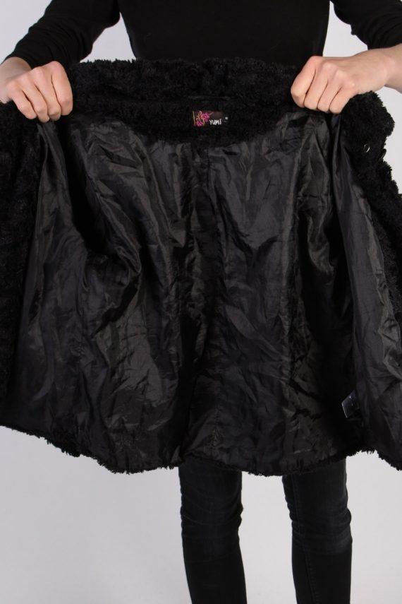 Vintage Yumi Fun Fur Ladies Coat Jacket Bust:34 Black -C949-70086
