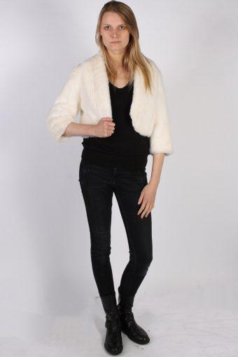 Vintage Sphinx Fun Fur Ladies Coat Jacket Bust:39 White -C953-70103