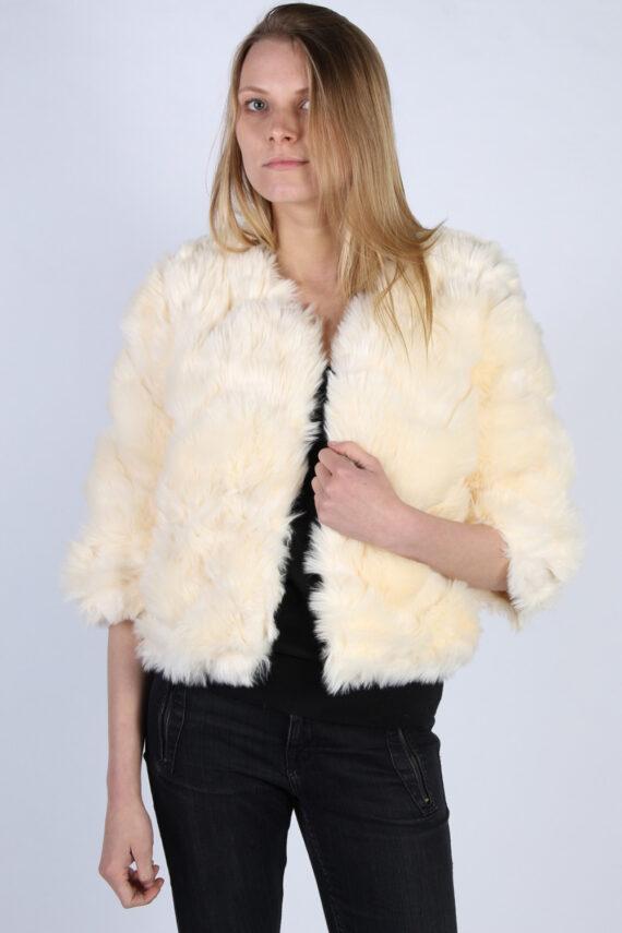Vintage Esther Faux Fur Womens Coat Jacket Bust:40 White -C956-0