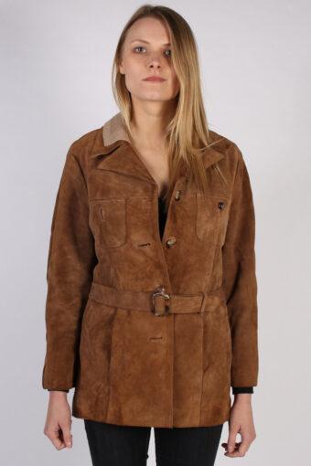 Vintage Genuine Suede Womens Coat Jacket  Bust:40 Brown