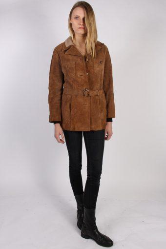 Vintage Genuine Suede Womens Coat Jacket Bust:40 Brown -C964-70163
