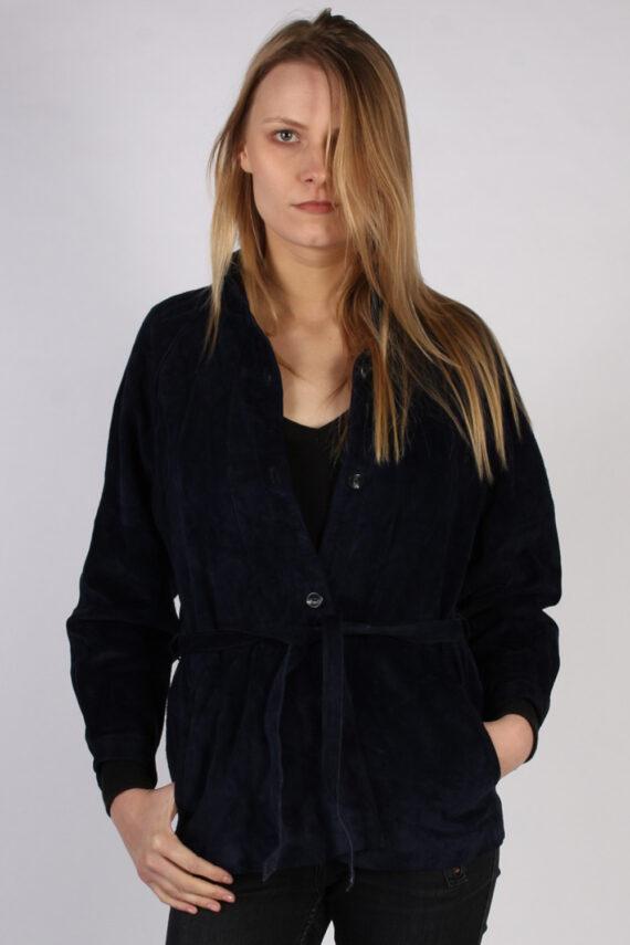 Vintage Ledermann Suede Womens Coat Jacket Bust:40 Navy -C968-0