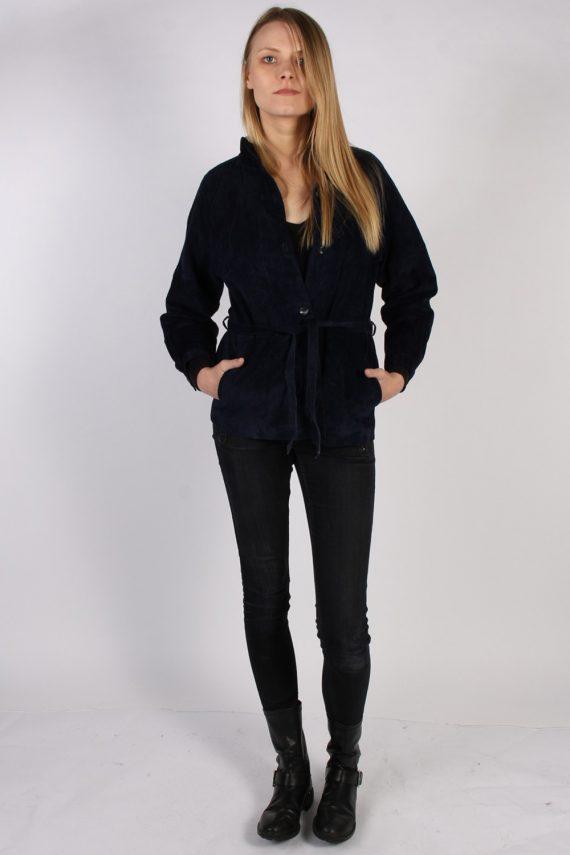 Vintage Ledermann Suede Womens Coat Jacket Bust:40 Navy -C968-70183