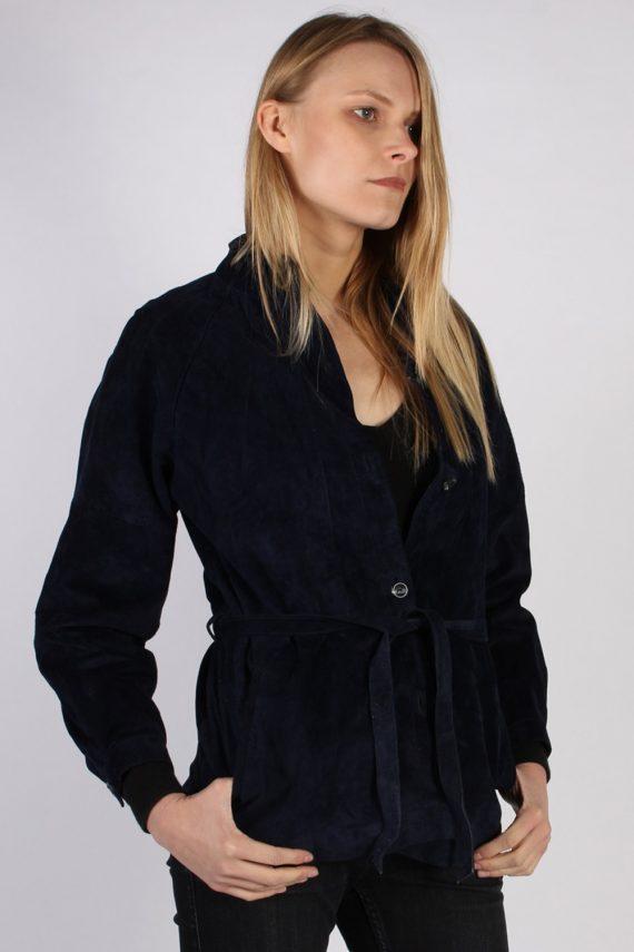 Vintage Ledermann Suede Womens Coat Jacket Bust:40 Navy -C968-70184