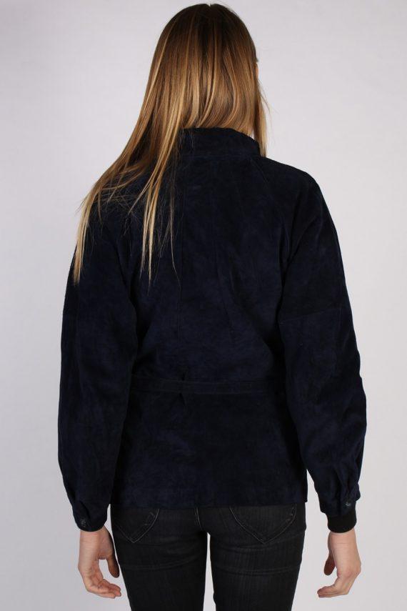 Vintage Ledermann Suede Womens Coat Jacket Bust:40 Navy -C968-70185