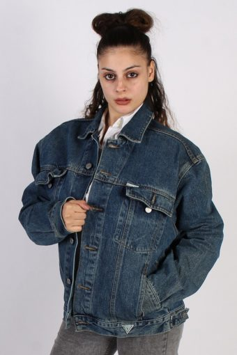 Guess Ladies Trucker Denim Jacket Dark Blue L