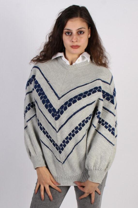 Vintage Winter Snow Knit Jumper N/A Grey -IL1053-0