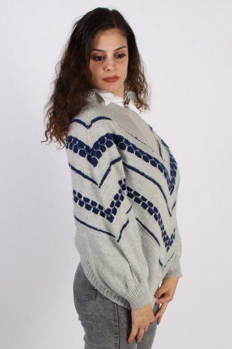 Vintage Winter Snow Knit Jumper N/A Grey -IL1053-56755