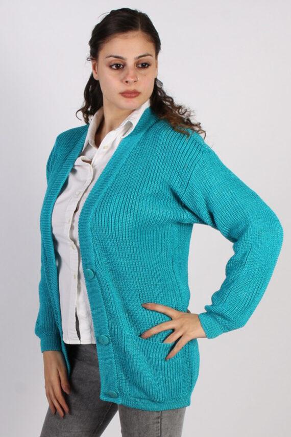 Vintage Jean Yves Knit Design Cardigan Jumper M Turquoise -IL1054-0
