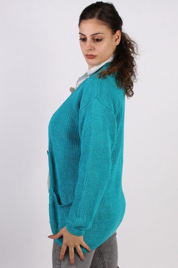 Vintage Jean Yves Knit Design Cardigan Jumper M Turquoise -IL1054-56759
