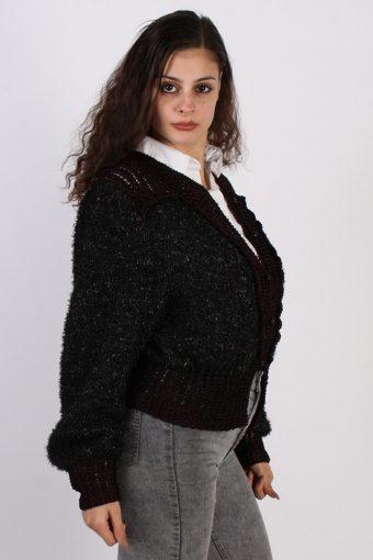 Vintage Winter Edition Designer Cardigan Jumper SM Black -IL1055-56763