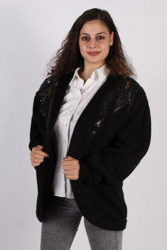 Women Jumper 90s Designer Edition Cardigan Black L