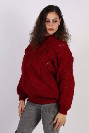 Women Jumper Knitwear 80s 90s Cool Knitted Red XL