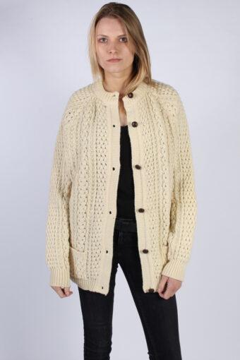 Women Jumper Knitwear 80s 90s QuILl's Cream XXL