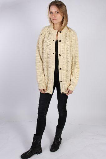 Vintage Qu-ILl's Woolen Ladies Knited Cardigan Jumper Bust:50 Cream -IL1077-70308