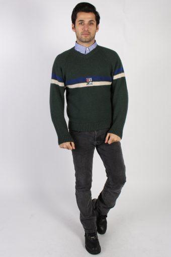Vintage Tommy Hilfiger Alpine Wool Jumper L Khaki -IL1125-70817