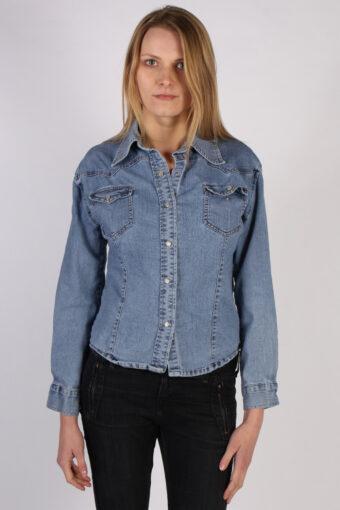 Women Denim Shirt Long Sleeve 90s Retro Blue M
