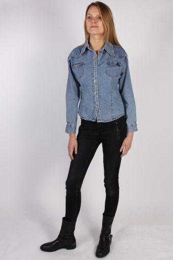 Vintage Princebright Long Sleeve Denim Blouse - Bust:40 Blue - SH3068-70328