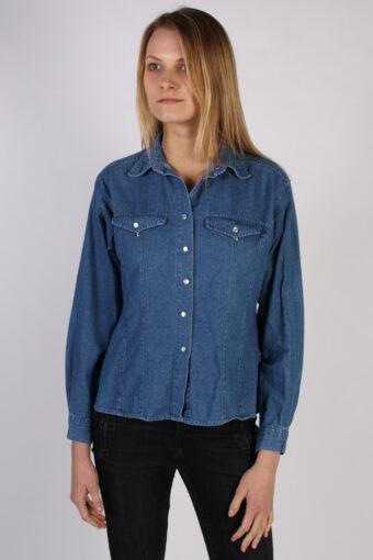 Women Denim Shirt Long Sleeve 90s Retro Navy M