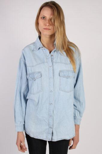 Women Denim Shirt Long Sleeve 90s Retro Blue XL