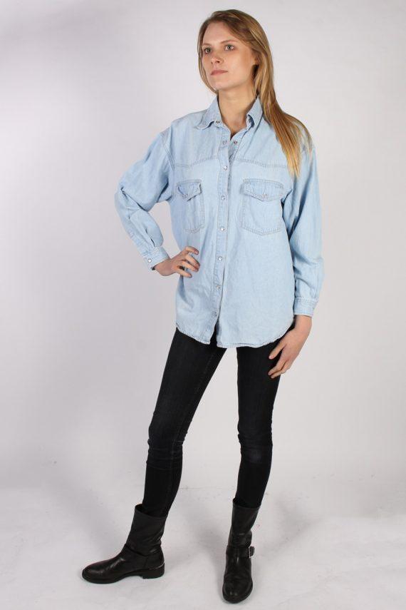 Vintage Arizona Long Sleeve Denim Blouse - Bust:45 Blue - SH3081-70393