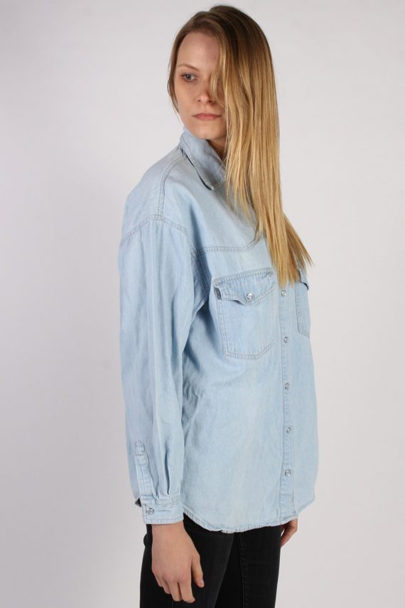 Vintage Arizona Long Sleeve Denim Blouse - Bust:45 Blue - SH3081-70394