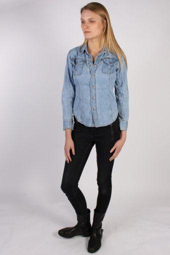 Vintage Calvin Klein Long Sleeve Denim Blouse - Bust:36 Blue - SH3084-70408