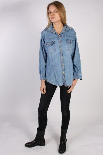 Vintage Guoxi Long Sleeve Denim Blouse - Bust:42 Blue - SH3091-70443