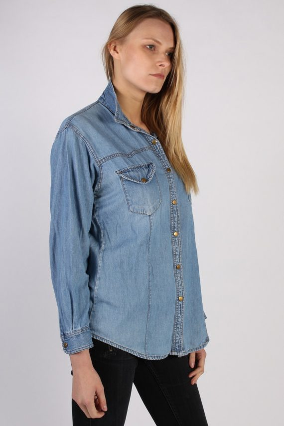 Vintage Guoxi Long Sleeve Denim Blouse - Bust:42 Blue - SH3091-70444