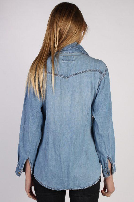 Vintage Guoxi Long Sleeve Denim Blouse - Bust:42 Blue - SH3091-70445