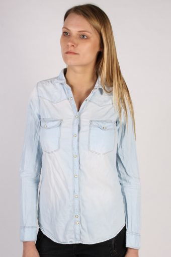 Pull&Bear Long Sleeve Denim Shirt Women Blue S