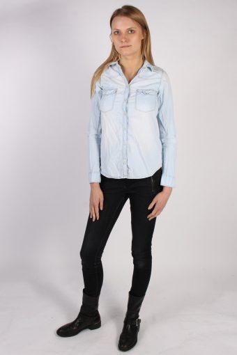 Vintage Pull&Bear Long Sleeve Denim Blouse - Bust:35 Blue - SH3093-70453