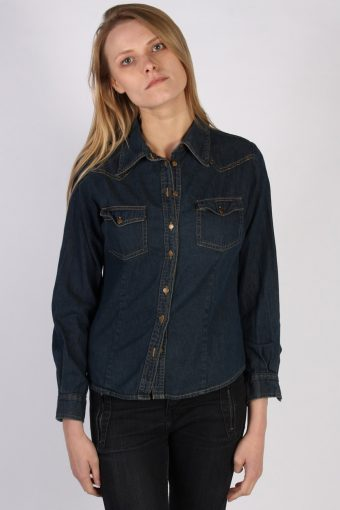 Women Denim Shirt Long Sleeve 90s Retro Navy L