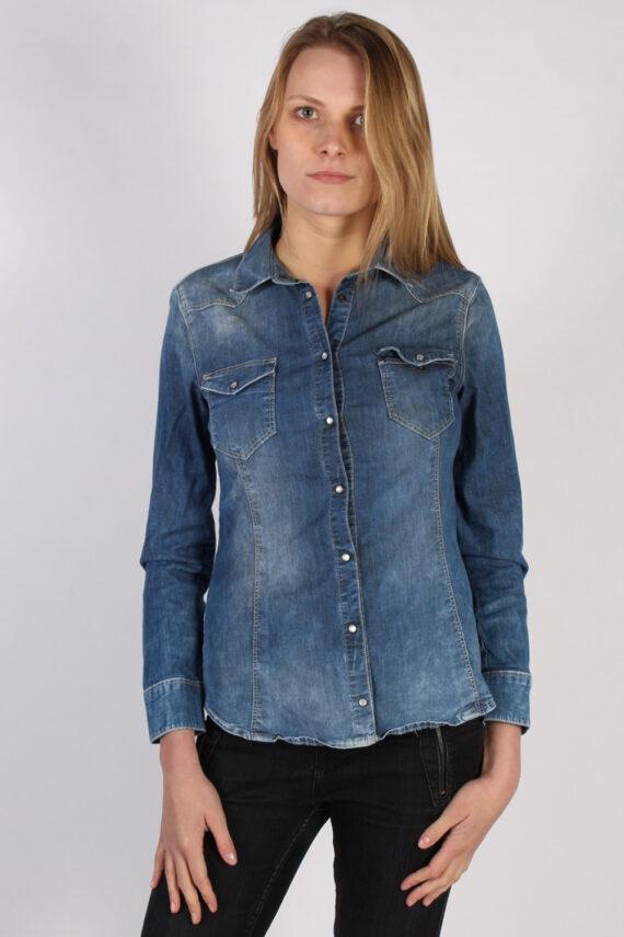 Vintage Other Brands Long Sleeve Denim Blouse - Bust:35 Navy - SH3100-0