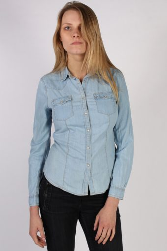 Women Denim Shirt Long Sleeve 90s Retro Blue S