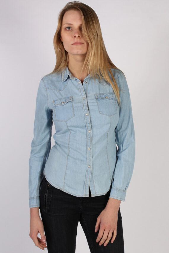 Vintage Benetton Jeans Long Sleeve Denim Blouse - Bust:36 Blue - SH3113-0