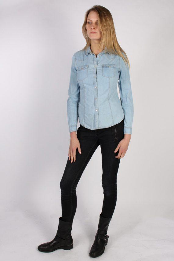 Vintage Benetton Jeans Long Sleeve Denim Blouse - Bust:36 Blue - SH3113-70552