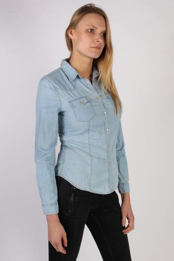 Vintage Benetton Jeans Long Sleeve Denim Blouse - Bust:36 Blue - SH3113-70553