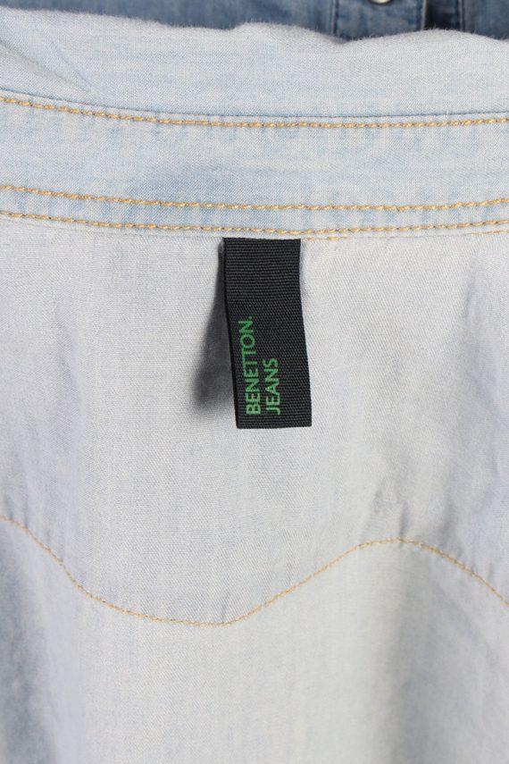 Vintage Benetton Jeans Long Sleeve Denim Blouse - Bust:36 Blue - SH3113-70555