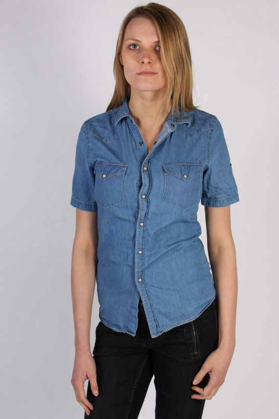 Vintage Topman Short Sleeve Denim Blouse - Bust:34 Blue - SH3115-0