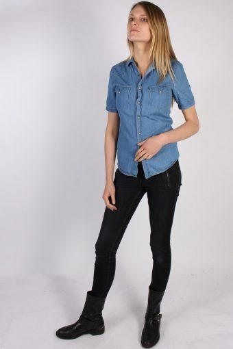 Vintage Topman Short Sleeve Denim Blouse - Bust:34 Blue - SH3115-70562