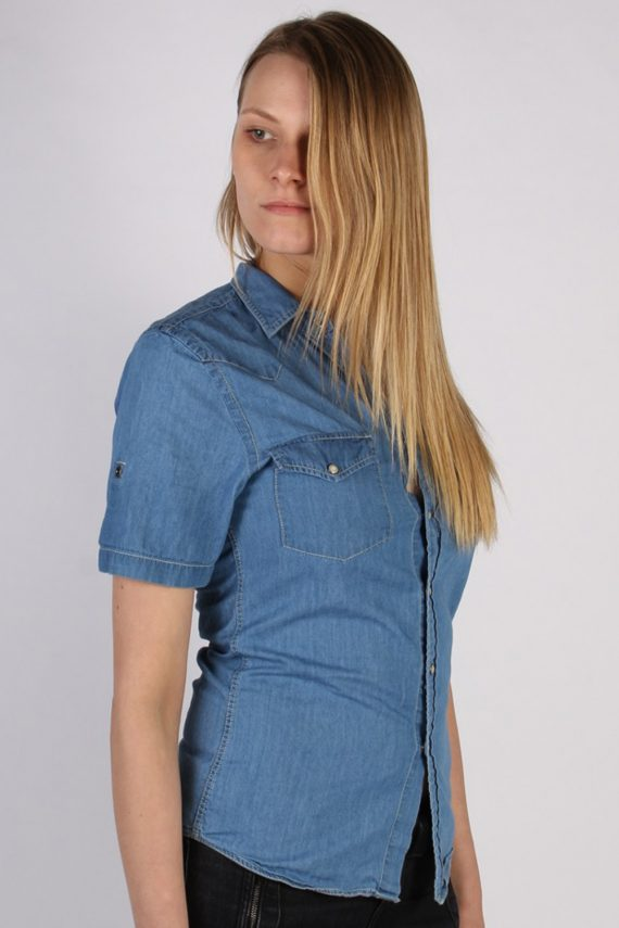 Vintage Topman Short Sleeve Denim Blouse - Bust:34 Blue - SH3115-70563