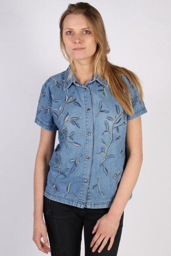 Vintage Together Designer Denim Blouse - Bust:42 Blue - SH3117-0